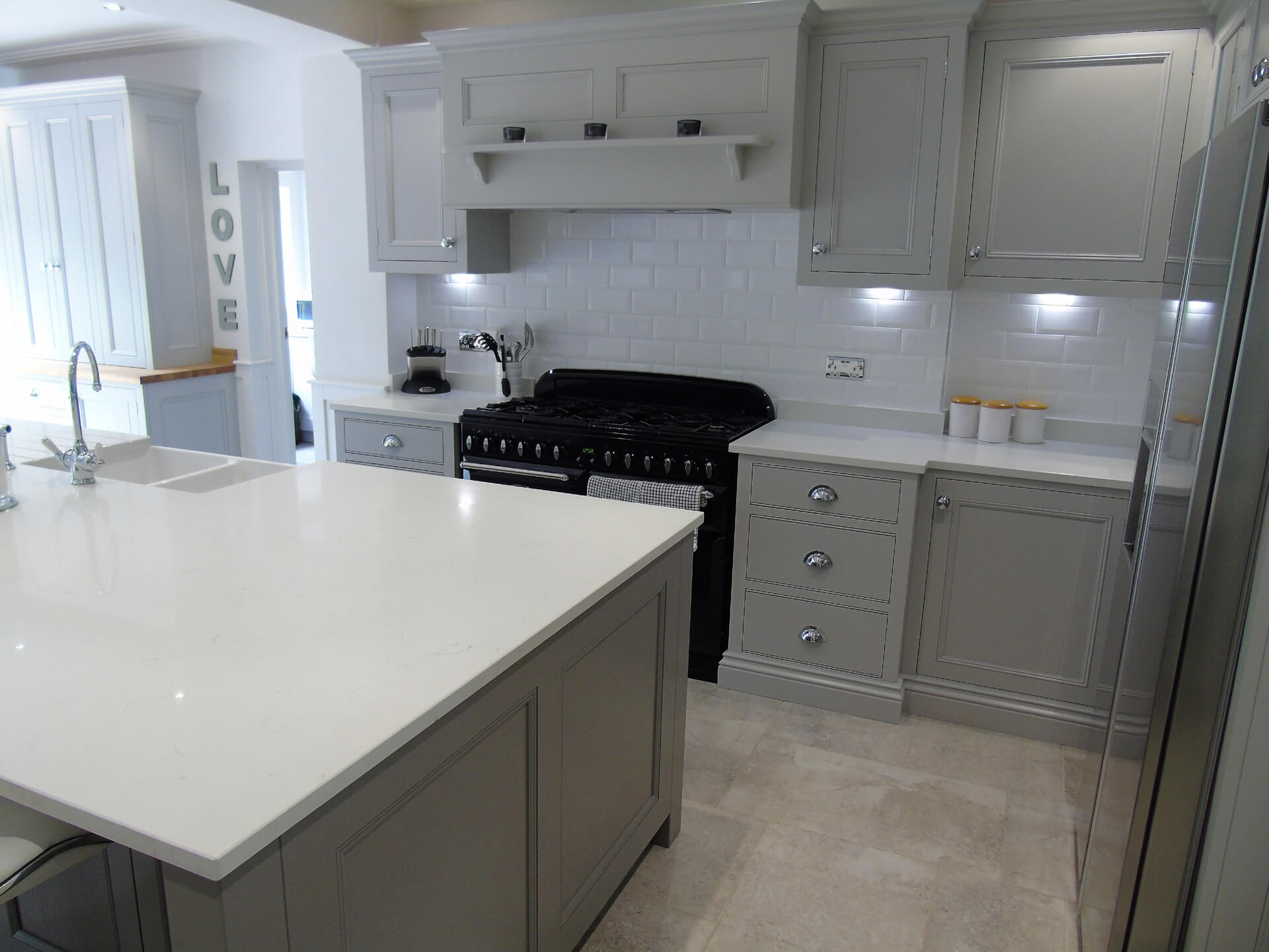 Pavillion Grey Cupboards/ Island In Moles Breath - Balsall Common